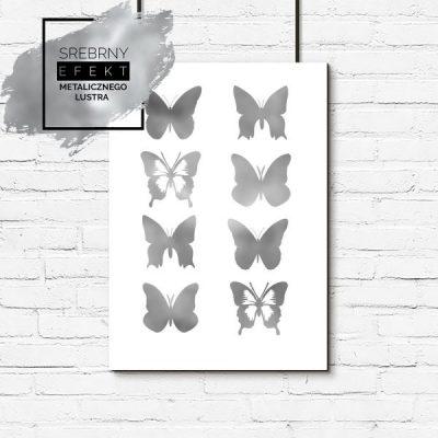 Plakat z motylami srebrny