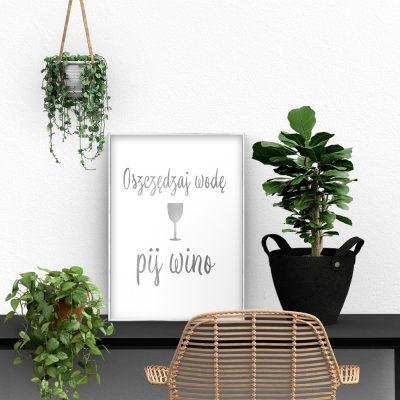 srebrny plakat z motywem wina
