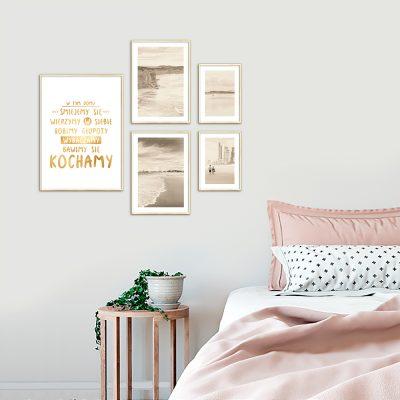 złoty zestaw plakatów do sypialni