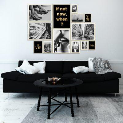 plakaty pozłacane w zestawie do salonu