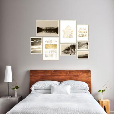 zestaw złotych plakatów do sypialni