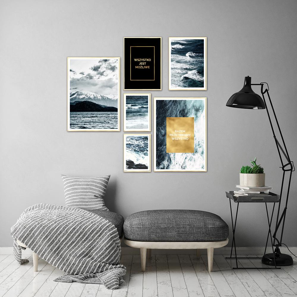 Zestaw Złotych Plakatów Z Napisami I Motywem Morza