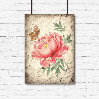 Kwiatowy plakat w stylu vintage