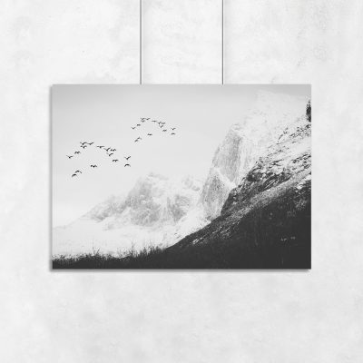 grafika ścienna z górami