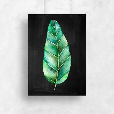 grafika ścienna z motywem liścia