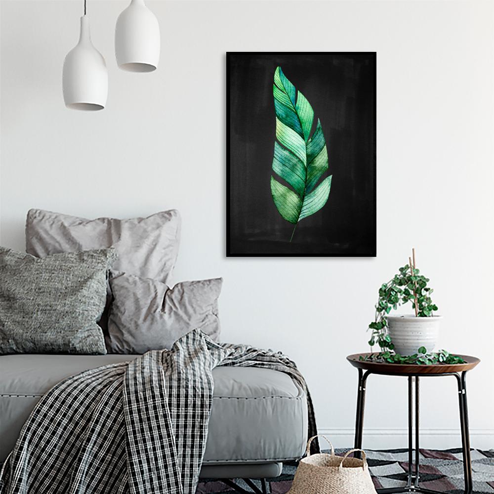 Plakat Z Motywem Roślinnym Na Czarnym Tle