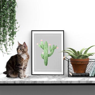 plakat ze wzorem kaktusa
