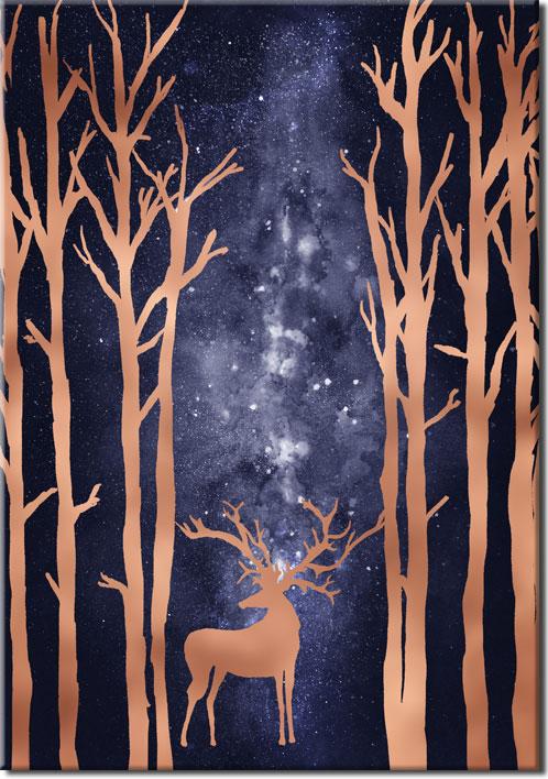 plakat z jelonkiem w lesie