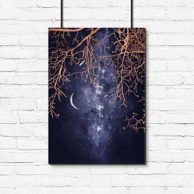 plakat z drzewem i gwiazdami