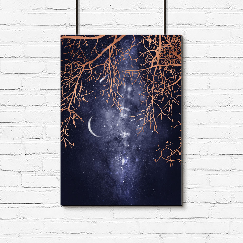 Plakat Metaliczny Z Drzewami I Księżycem