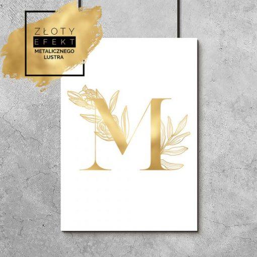 Plakat złoty z literką M