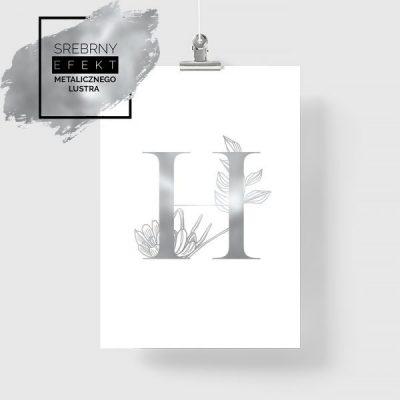 Plakat srebrny z literą H