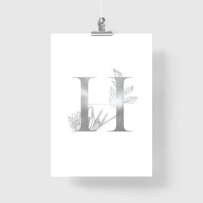 doiwolna literka na plakacie srebrnym