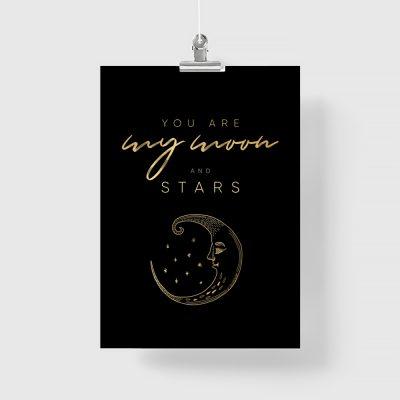 piekny plakat czarny ze złotymi napisami