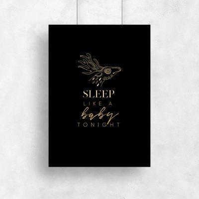 złoty plakat z napisem o spaniu