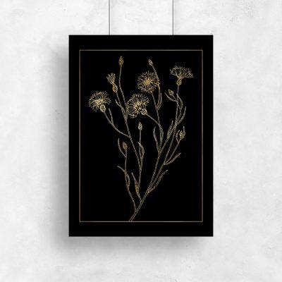 metaliczny plakat i kwiaty