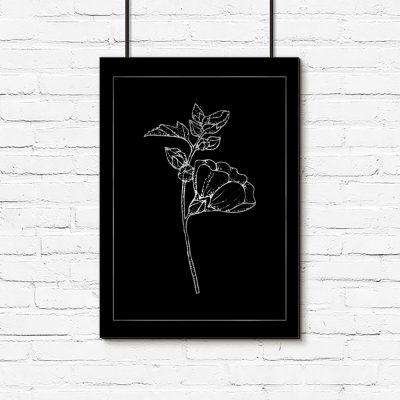 plakat ze srebrnymi kwiatami