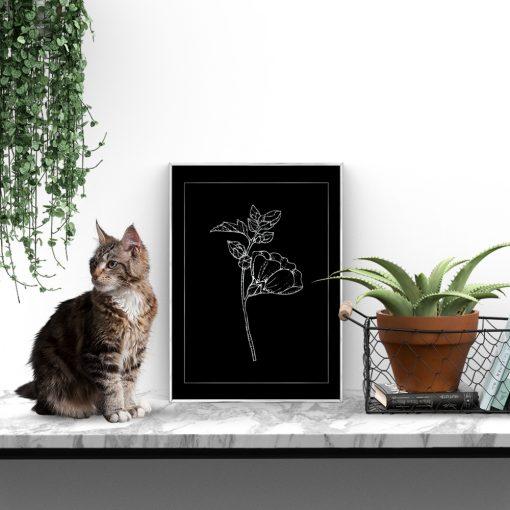 srebrne kwiaty na plakacie
