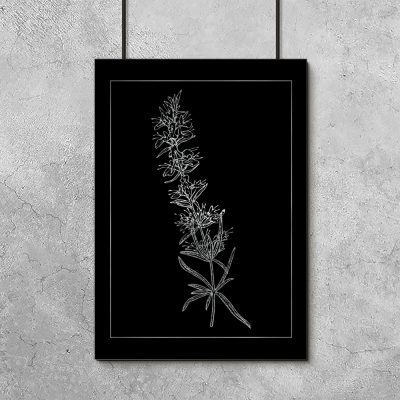 metaliczny plakat z rośliną