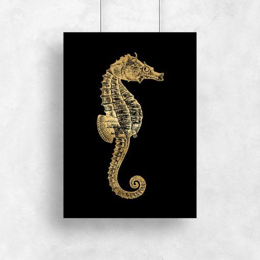 pozłacany plakat metaliczny ze zwierzątkiem