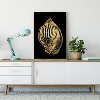 plakat z motywem złotej muszelki