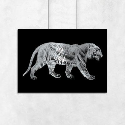 palakt z motywem tygrysa posrebrzanego
