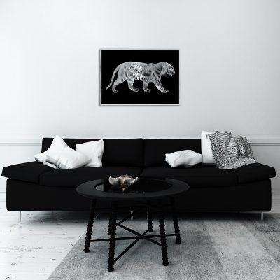 plakat z motywem srebrnego tygrysa