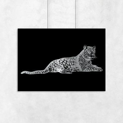 motyw geparda na posrebrzanym plakacie