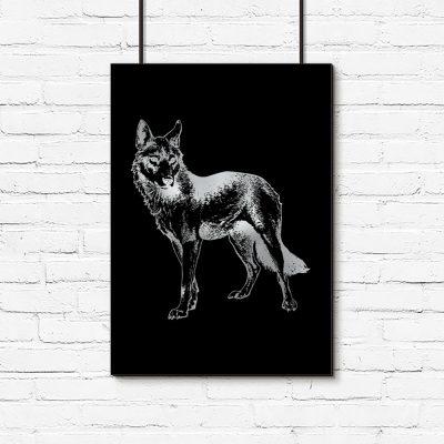 plakat metaliczny z wilkiem