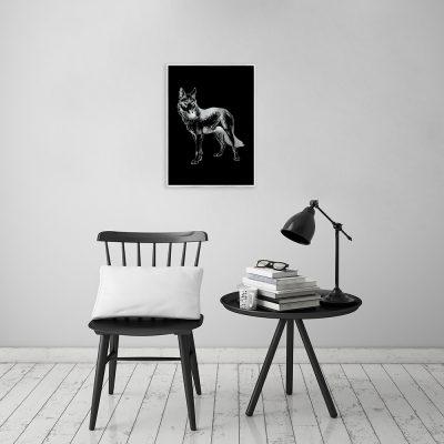 posrebrzany plakat z motywem wilka