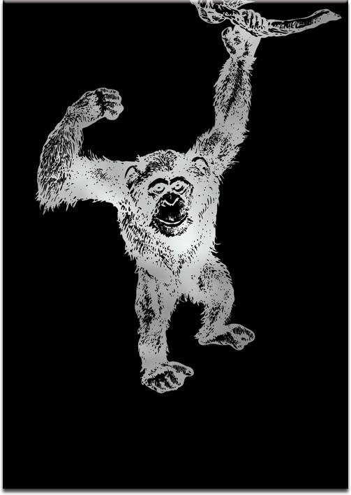 metaliczny plakat z motywem małpki