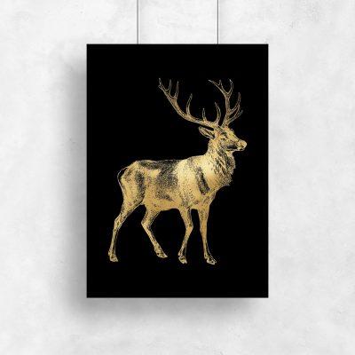 jeleń an złotym plakacie z czarnym tłem