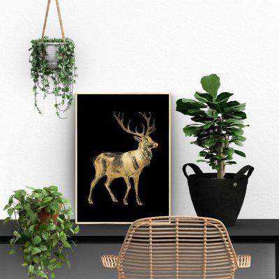 złoty plakat z jeleniem