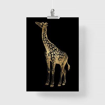 żyrafka na metalicznym plakacie