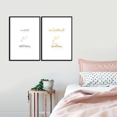złoty srebrny plakat do sypialni