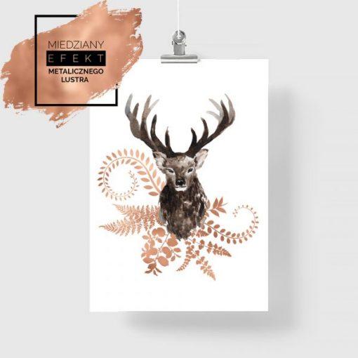 Miedziany plakat z jeleniem w ornamentach