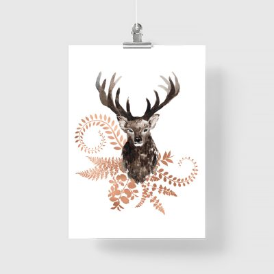 plakat z jeleniem miedziane rośliny
