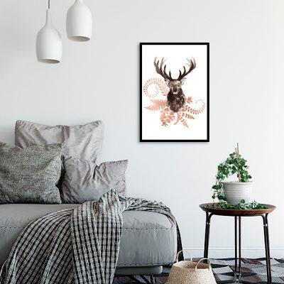 plakat z jeleniem i miedzianymi roślinami