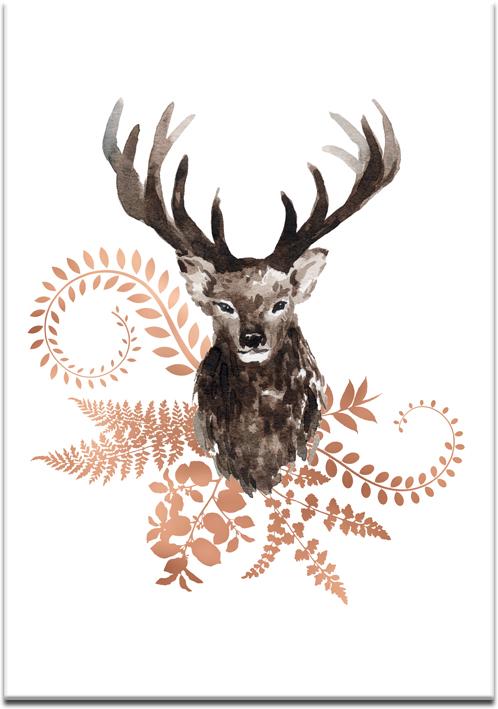 miedziane rośliny i jeleń na plakacie