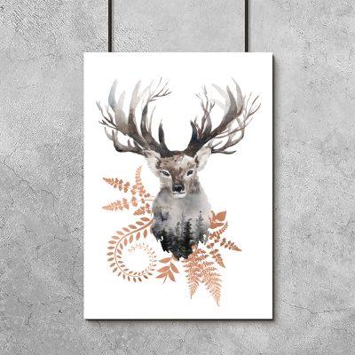 plakat jeleń i rośliny