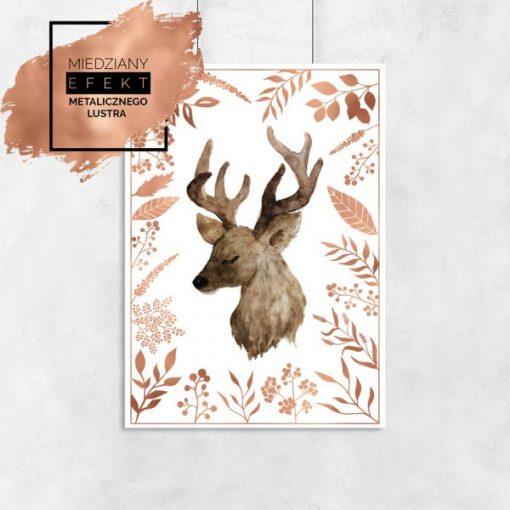 Plakat miedziany z jeleniem wśród kwiatów