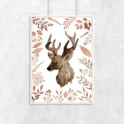 metaliczny plakat z jeleniem