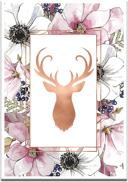 plakat metalizowany z jeleniem