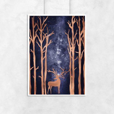 plakat z metalicznymi drzewami