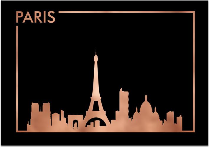 Metaliczny Plakat Z Miastem Paryż