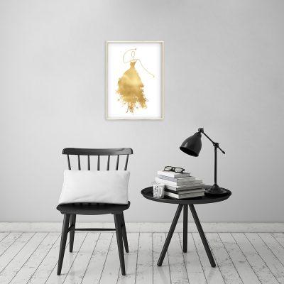 plakat złota sukienka