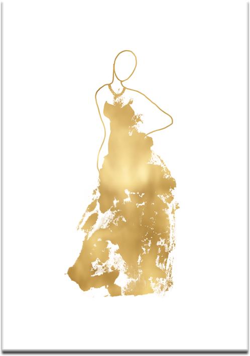 plakat z postacią w złotej sukni