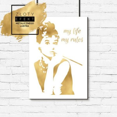 Plakat z Audrey Hepburn złoty