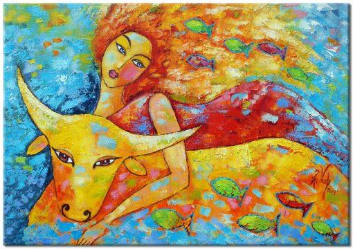 obraz kobieta z bykiem