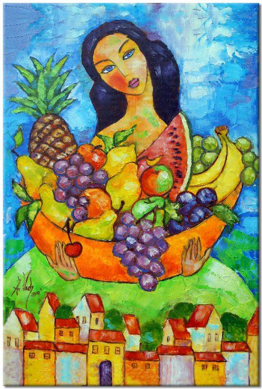 obraz z reprodukcją dziewczyna z owocami
